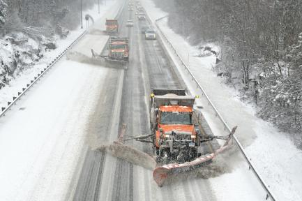Snowplows on highway
