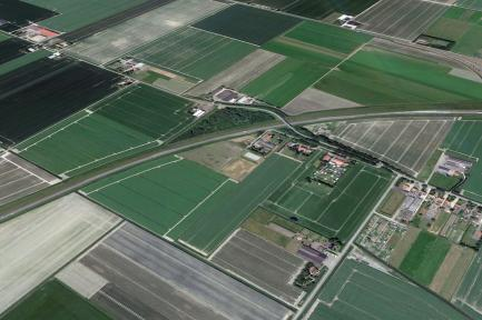 aerial view of agriculture fields