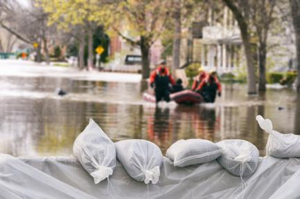 Sandbags on a flooded street