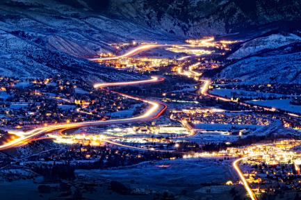 Roads to a ski resort