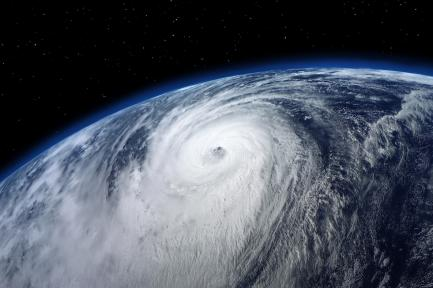 Satellite view of typhoon
