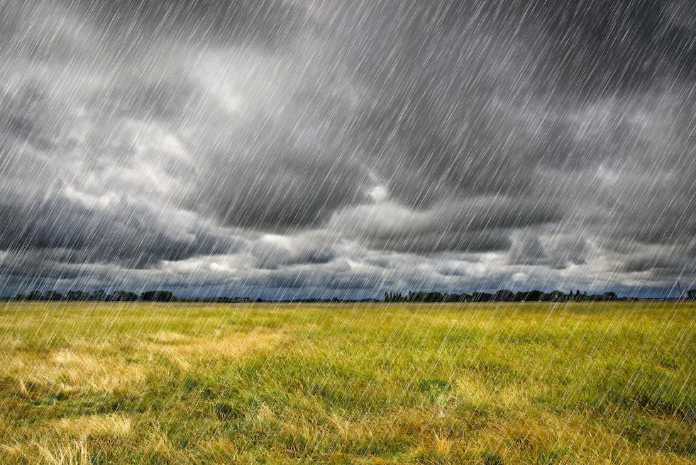 Rain clouds over field