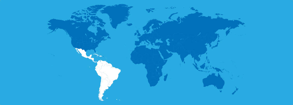 world map highlight latin america/caribbean